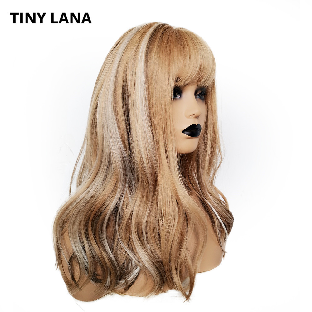 TINY LANA Long Wavy Light Blonde Brown Wig For Women African American Synthetic Wigs With Bangs Heat Resistant Cosplay Wig
