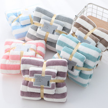 Home Towel Set Face Towel Hand Towels Bathroom Set Bath Towels for Adults Absorbent Washcloths for Women Shower Towel Big Towel cheap jivetulu CN(Origin) Stripe Hemming woven Square T047 Quick-Dry Machine Washable 5s-10s striped 80 Polyester Fibre + 20 Polyamide