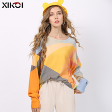 New XIKOI Fashion Patchwork Print Sweater For Wome