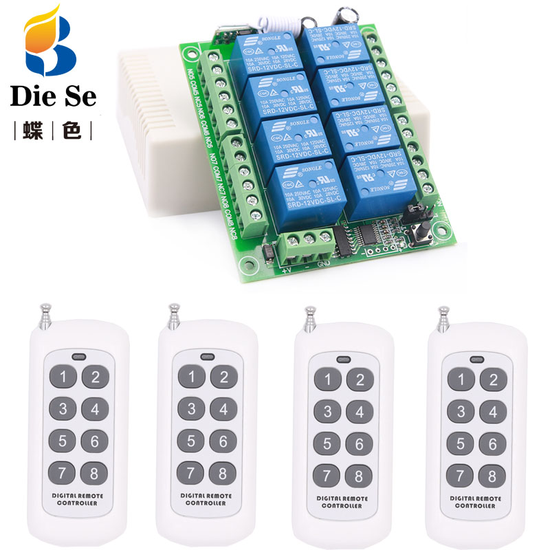 433MHz Wireless Universal Remote Control DC 12V 8CH rf Relay Receiver and 500 meters remote control for Wireless Remote Control