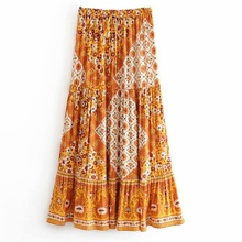 Boho Floral A-line Women's Maxi Skirt Elastic High Waist Sashes Vintage Pleated Womens Skirts 2020 Summer Fashion Clothes Female maxi high waist pleated a line dress