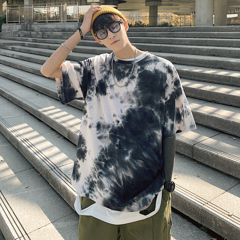 Printed T-shirt Men New Spring And Summer New Tie-dye Round Neck Hooded T-shirt Korean Male Plus Size Fat Half-sleeved Shirt