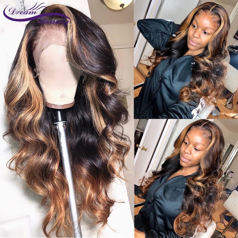 13x6 parte profunda do laço frente perucas de cabelo humano 180% densidade brasileiro remy ondulado cabelo humano pré-arrancado linha fina sonho beleza