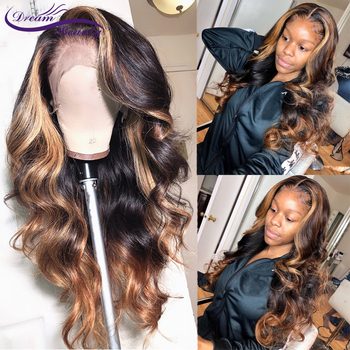 Highlight 360 Lace Frontal Wig 13x6 Lace Front Human Hair Wigs 180% Brazilian Remy Wavy Human Hair PrePlucked Lace Wigs