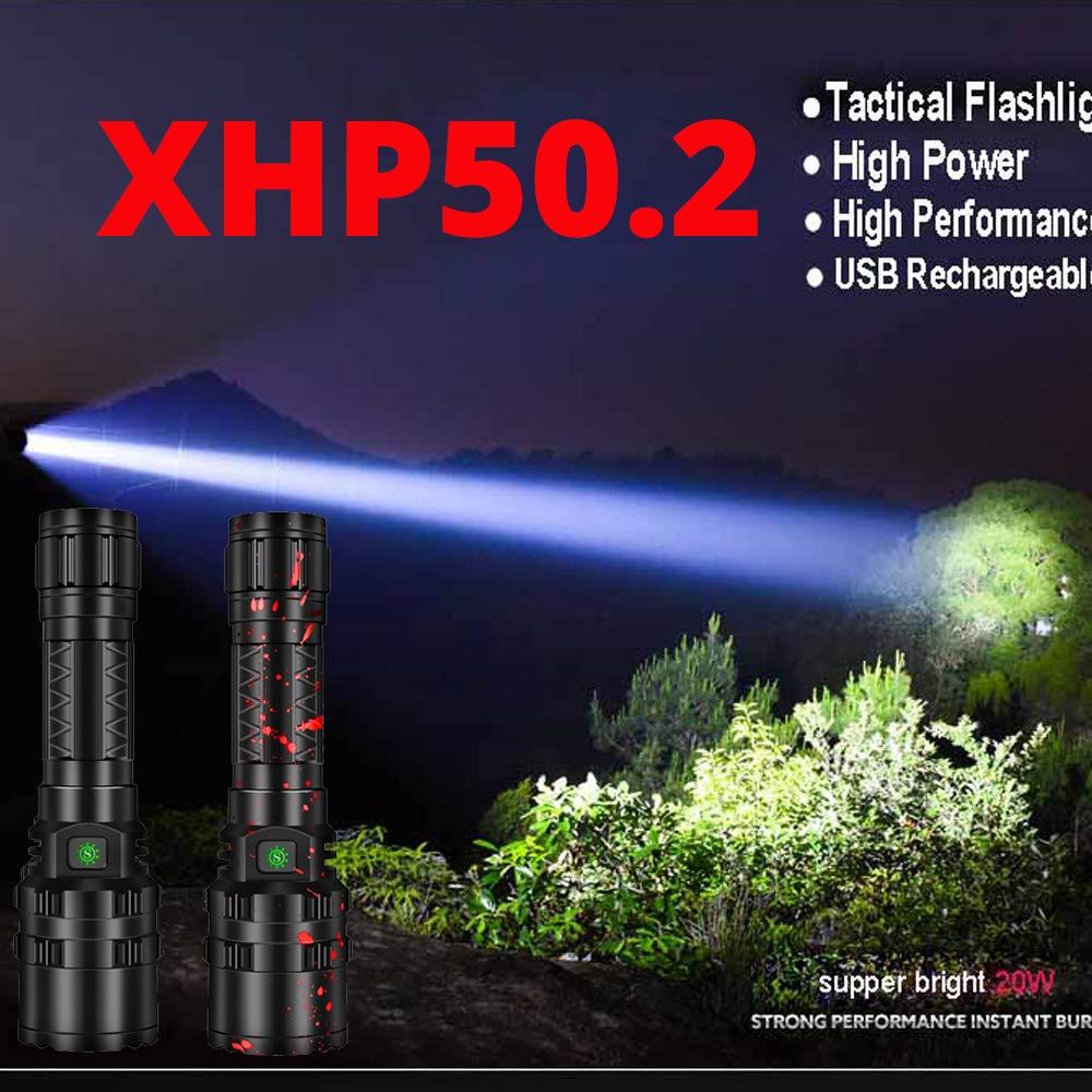 Most Powerful XHP50.2 LED Flashlight Xlamp Aluminum Hunting L2 Waterproof 5Modes Torch Light Lanterna 18650 26650 Battery