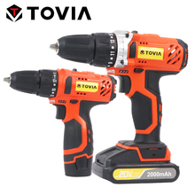 TOVIA 12V 20V Cordless Drill 35NM Torque Electric Screwdriver Drill Hole Hand Power Drill 2000mAh Power Driver Tool Set