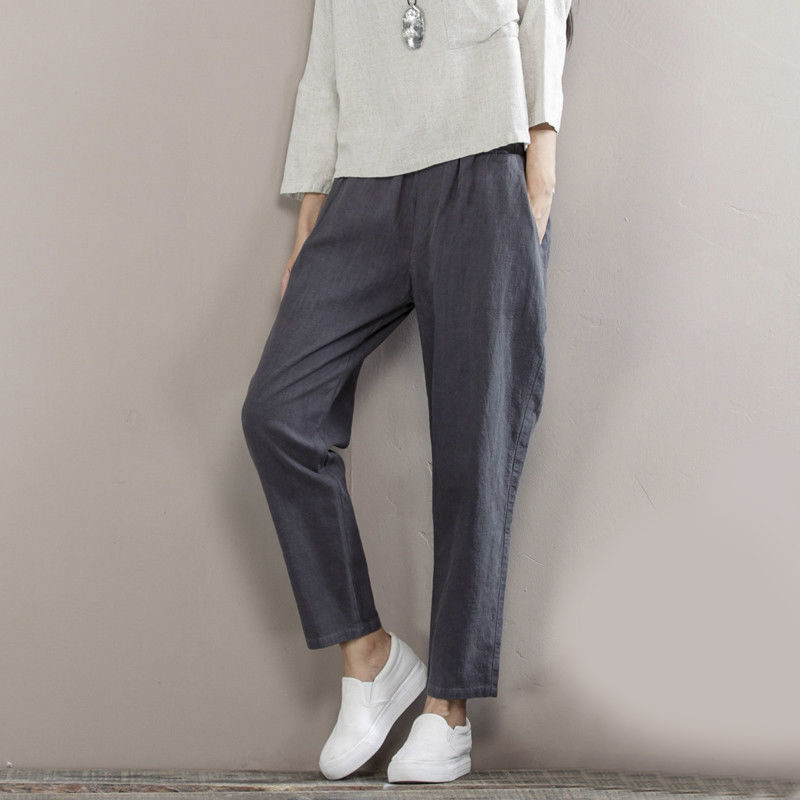 Womens Ladies Summer Pant Cotton Linen Loose Casual Pants Summer Cool Trousers