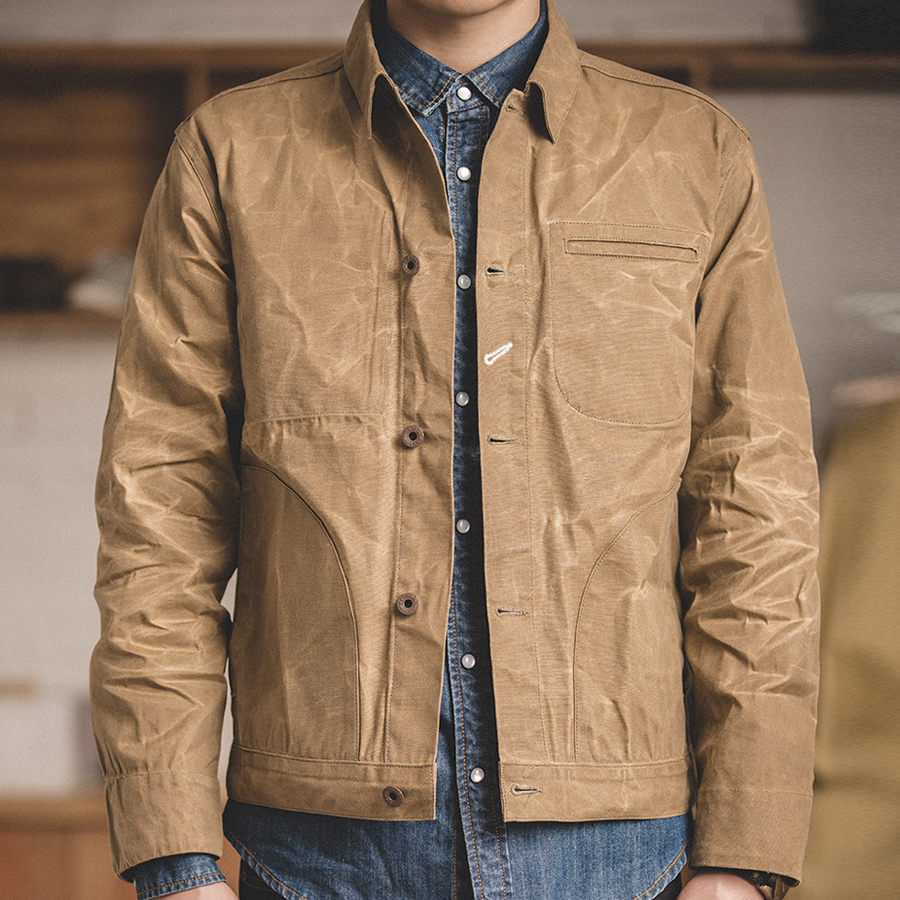 MADEN Men's Retro Waxed Canvas Cotton Jacket Military Lightweight Casual Spring Work Jacket Slim Fit Khaki