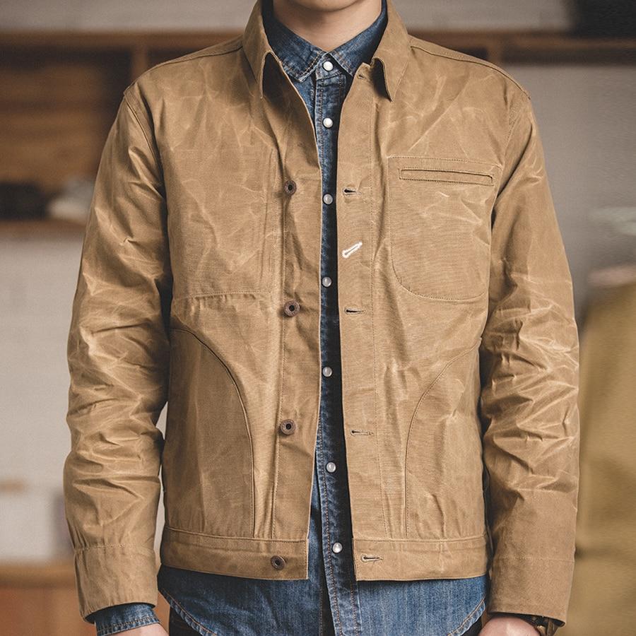 MADEN Men's Retro Waxed Canvas Cotton Jacket Military Lightweight Casual Spring Work Jacket Slim Fit Khaki