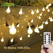 LEDGLE 39Ft 100 Led Ball String Lights Christmas Garland Waterproof Fairy Light Decor Holiday Party Birthday Xmas Bulb LED Strip