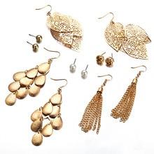 pair of stylish faux turquoise leaf alloy drop earrings for women 6 Pair/Set Metal Leaf Tassel Earrings For Women Female Bohemian Alloy Drop Long Earrings Set Wedding Fashion Jewelry