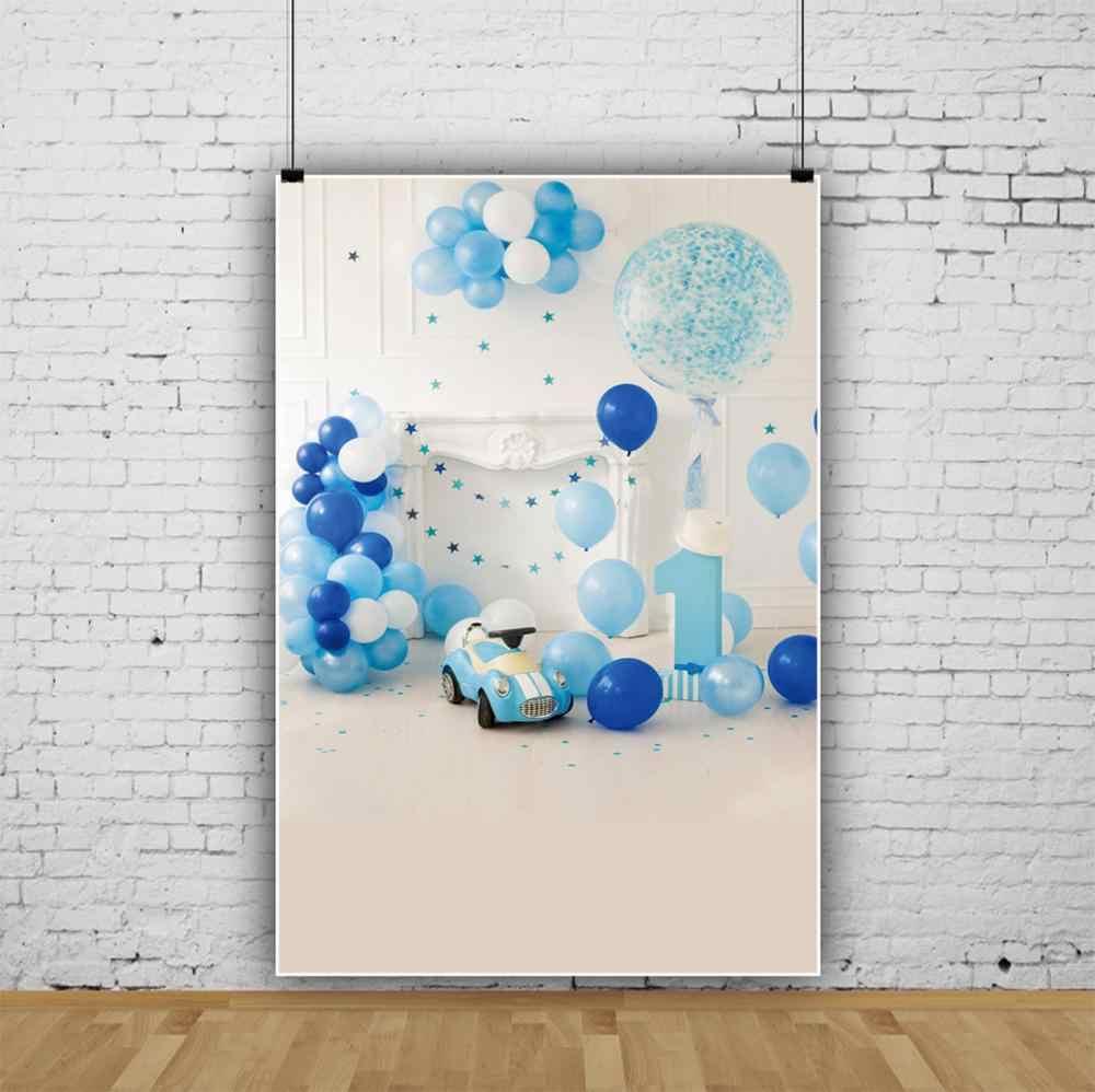 Laeacco Blue Balloons 사진을위한 행복한 1 생일 파티 회색 세련된 벽난로 아기 장난감 자동차 초상화 사진 배경