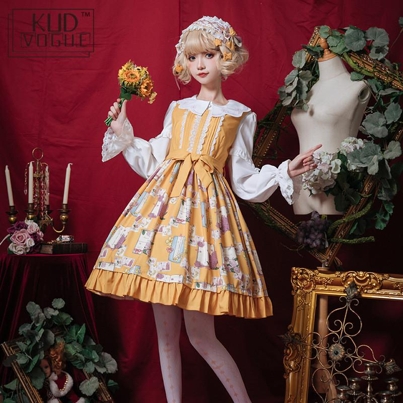 Gothic Lolita Dress Girl Sweet Victorian Dress Elf Dresses Sleeveless Chiffon Cosplay Costume Kawaii Purple Yellow Party Dress