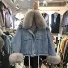 Женская джинсовая куртка с воротником из натурального Лисьего меха 2019, зимнее пальто свободного кроя из лисьего меха + Съемная Женская куртка из искусственного кроличьего меха - 4