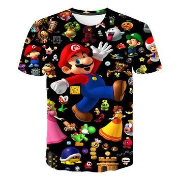 Classic Cartoon Mario 3D T-shirt New Harajuku style Classic Game Mario Bros kids clothes Mario Boys Clothes Street T-shirt