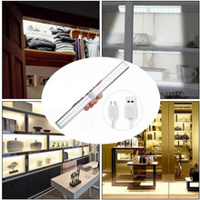 60 led PIR Motion Sensor lampa z możliwością wielokrotnego ładowania bezprzewodowe oświetlenie podszafkowe USB oświetlenie kuchenne do szafy szafy sypialnia piwnica tanie tanio OMSPY 50000hrs Aluminium led cabinet light Akumulator White Warm white 60LEDs USB Rechargeable and Energy Saving