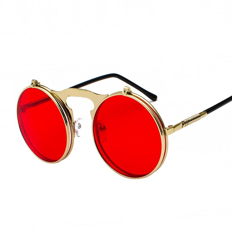 Vintage Steampunk Flip Up Men Sunglasses Women Retro Round Metal Frame Sun Glasses Hinge Design Curved Glasses Legs UV400