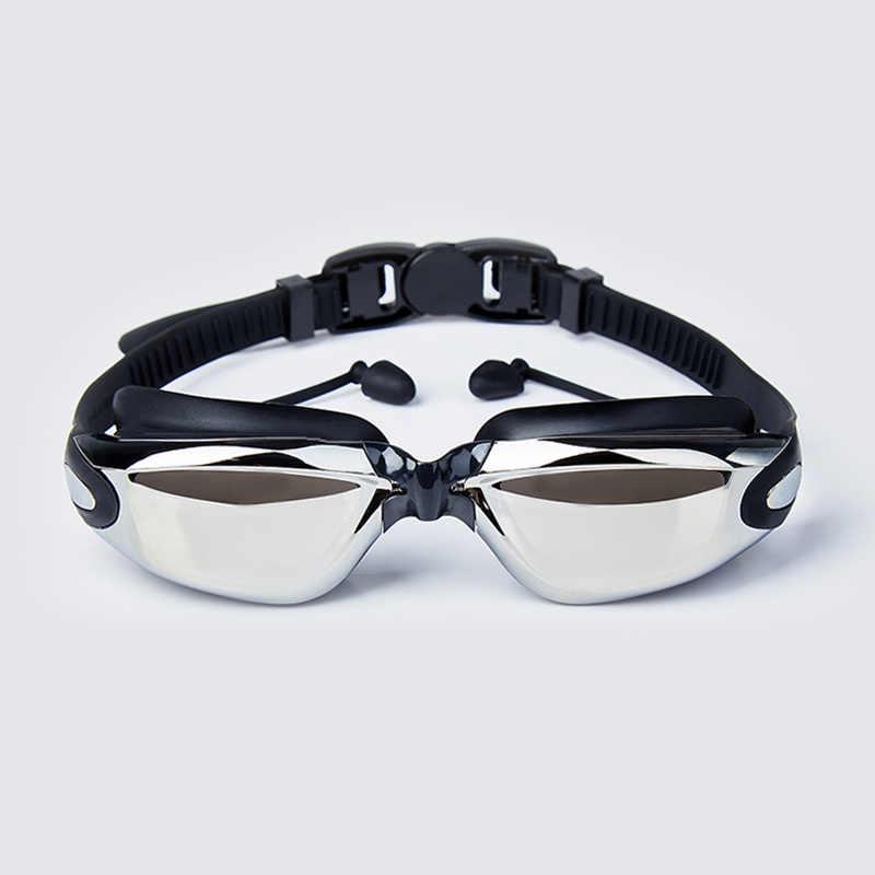 2019 Professionele Siliconen bijziendheid Zwembril Anti-fog UV Zwemmen Bril Met Oordopje voor Mannen Vrouwen Sport Brillen