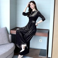 Velvet Jumpsuit Women Autumn Fashion Solid Office OL Rompers Womens Long Sleeve High Waist Wide Leg Pants Jumpsuits Female Long
