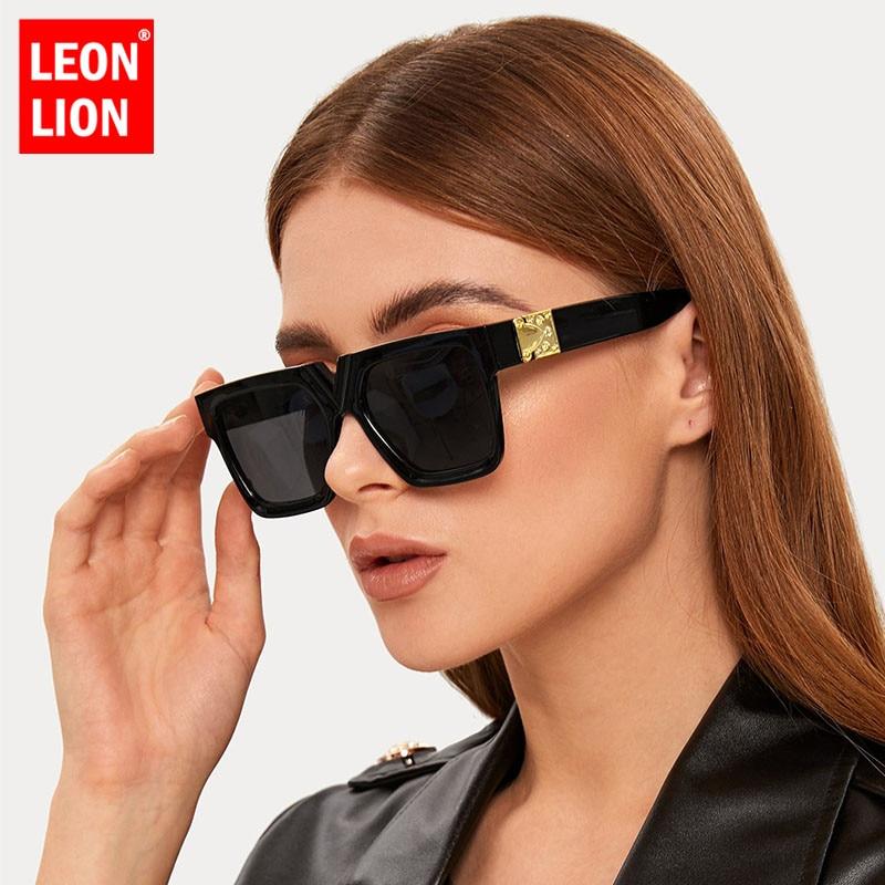 LeonLion Square Retro Sunglasses Women Luxury Brand Glasses Women/Men Oversized Sunglasses Women Mirror Oculos De Sol Feminino