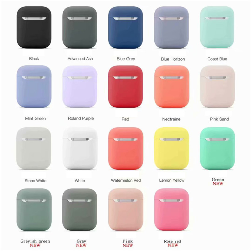 Kjoew Solid Color Silicone For AirPods Case Cover For Apple Wireless Earphone Protective Case Earphone Protective Earphone Case
