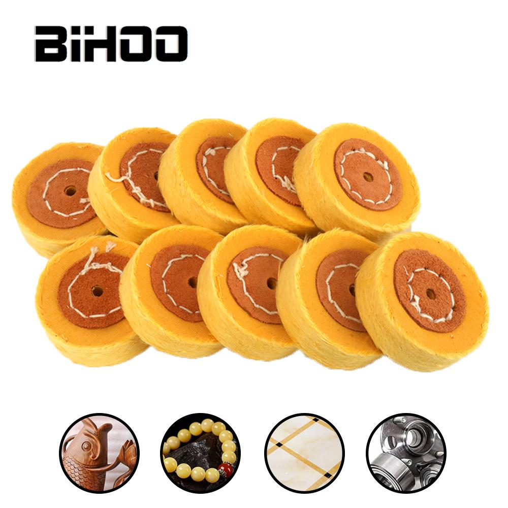 10Pcs 50mm Yellow Shape Mirror Polishing Cotton Polish Buffing Wheel Cloth Dremel Grinder Brush