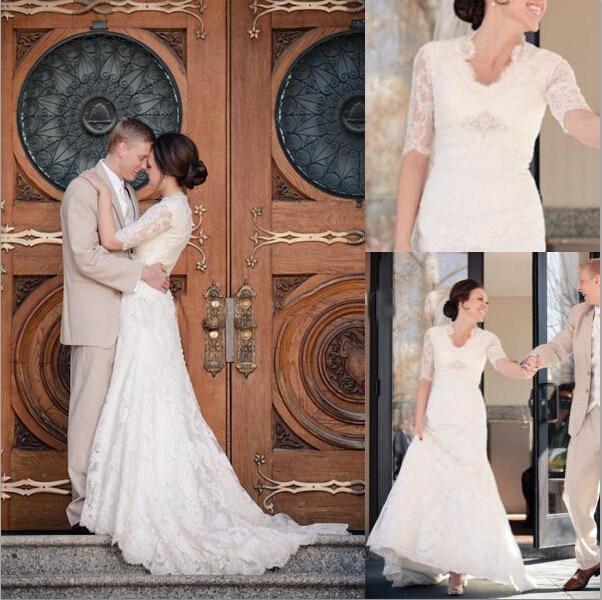 Hot Sale Long A-line White Lace Applique Wedding Dress 2016 Romantic Half Sleeve Bride Dresses Vestidos De Novia Wedding Dresses