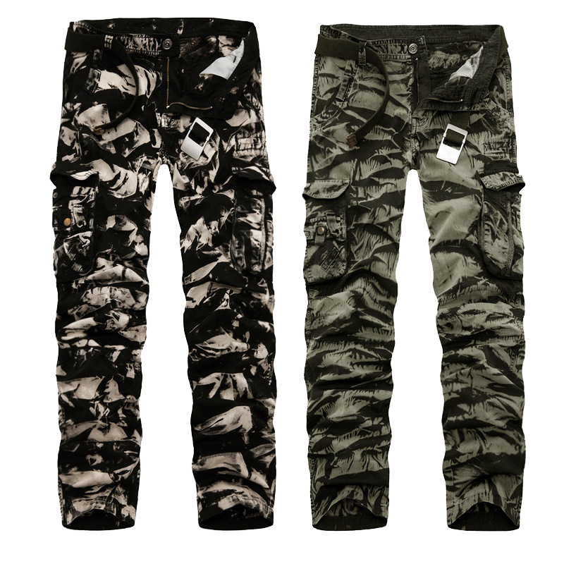 2017 New Style Plus-sized Menswear Slim Trousers Men Camouflage Multi-pockets Bib Overall Military Pants