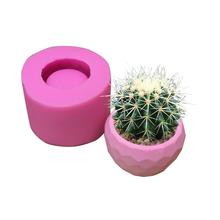 DIY Cactus Flowerpot Silicone Mold Cement Pot Making Molds Succulent Plants Craft Mould Office Home Decor
