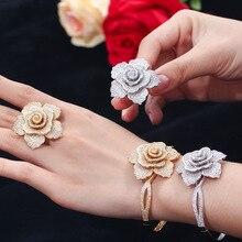 Avrupa ve amerikan moda lüks bilezik ve yüzük takı takım elbise parlak çiçek şekilli kakma çiftler için hediye paketi