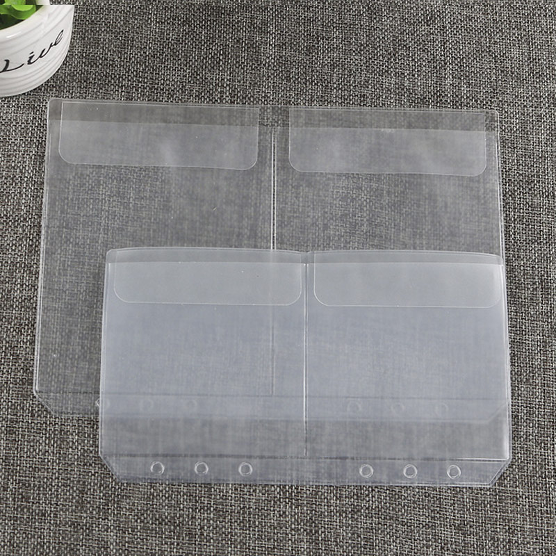 10pcs A5A6 Transparent Universal 6Holes Loose Leaf PVC Storage Bag Card Holder Notebook Planner Collection Pouch Bag Pen Storage