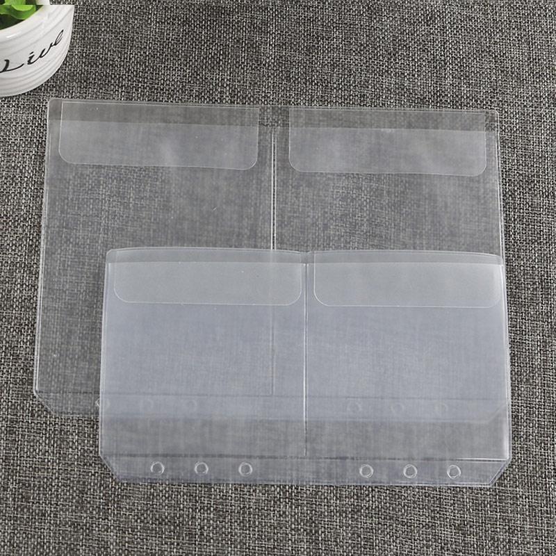 10pcs A5A6 Transparent Universal 6Holes Loose Leaf PVC Storage Bag Card Holder Notebook Planner Collection Pouch Bag Pen Storage