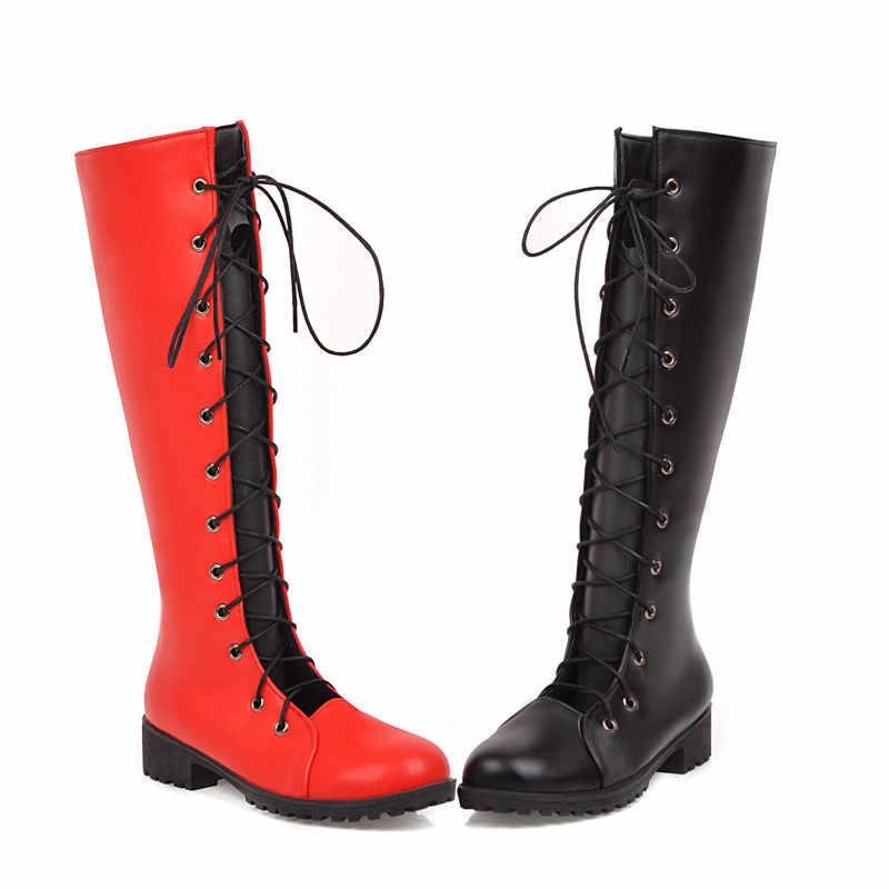 Odetina Women's Chunky รองเท้าส้นสูงสตรีแฟชั่น Cross ผูก Comfort รองเท้ารอบ Toe ตัดลูกไม้ขึ้นกลางลูกวัวฤดูใบไม้ร่วง Elegant
