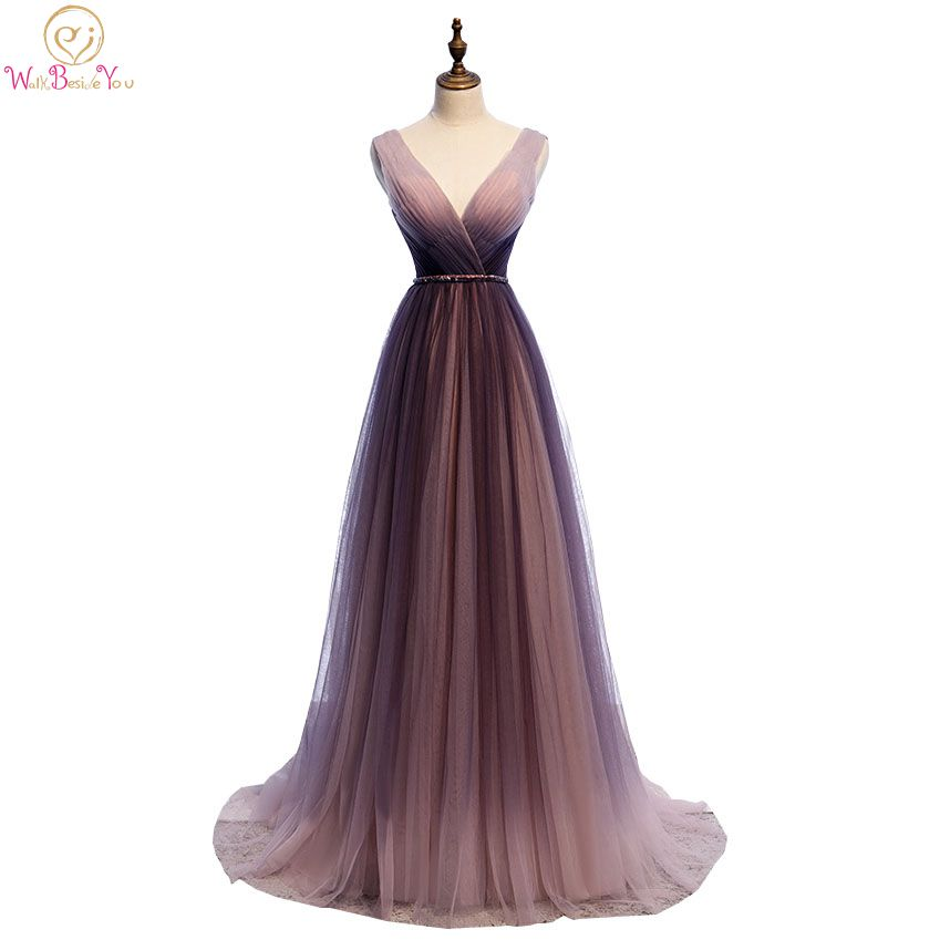 V Neckline Prom Dresses 2020 Tulle Pleats Sleeveless A Line Evening Gowns Formal Party Walk Beside You Lace Up Back Purple