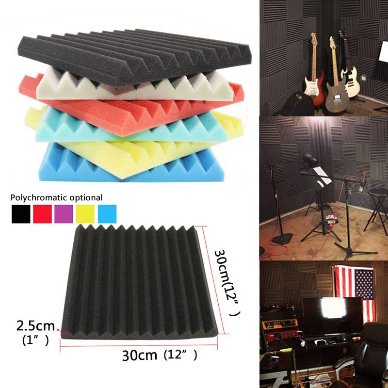 BEIYIN (24Pack) Wedge Studio Acoustic Foam Sound Treatment Tiles Sound Absorption Soundproofing Foam Panels Fireproof 1X12X12