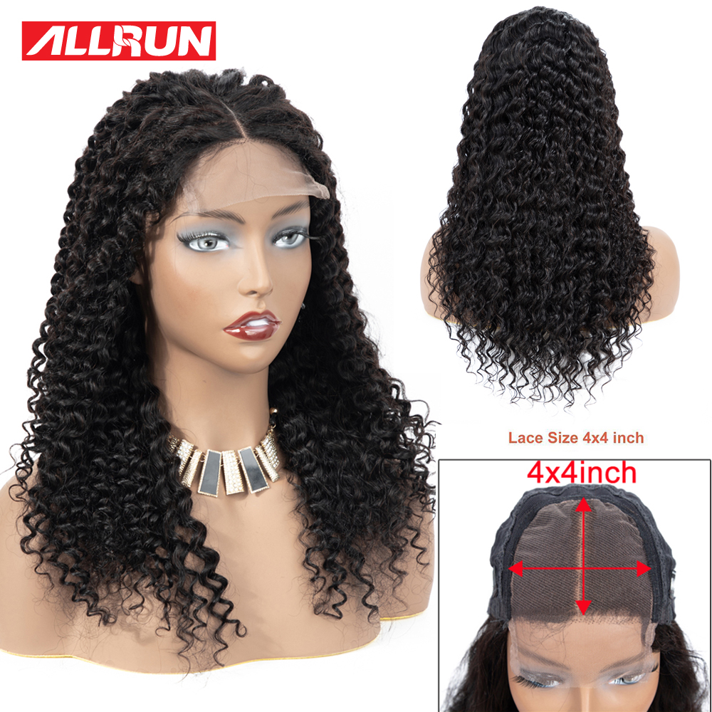 Allrun 4*4 Lace Closure Wig Non Remy Brazilian Deep Wave Human Hair Wig Short Lace Hair Wigs Natural Curly Pre Plucked 10-24