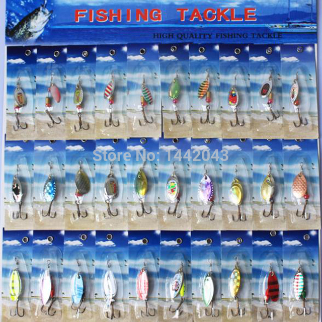30pcs Multi-Colour Fishing Lure Bait Metal Spoon Spinnerbait Tackle Spinner Retail Pack