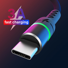 Double Color LED USB Cable Micro USB Charging Wire Cord For Xiaomi Redmi 5 3A