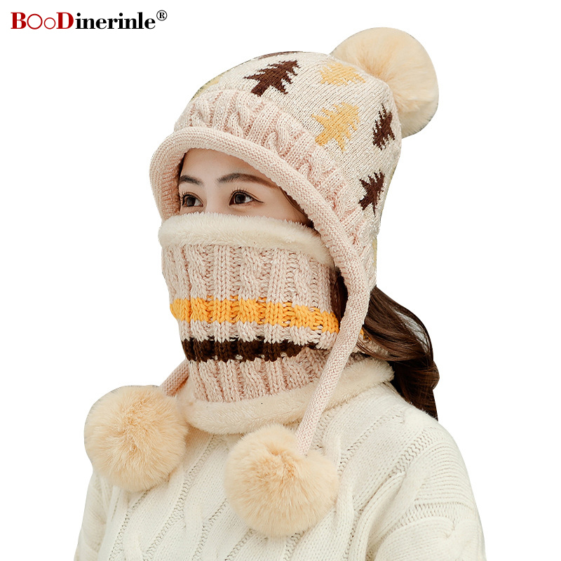 BOoDinerinle Christmas Set Cap And Scarf For Women Knitted Winter Hat Thick Warm Beanies Female For Girls Pom Pom Beain Hats