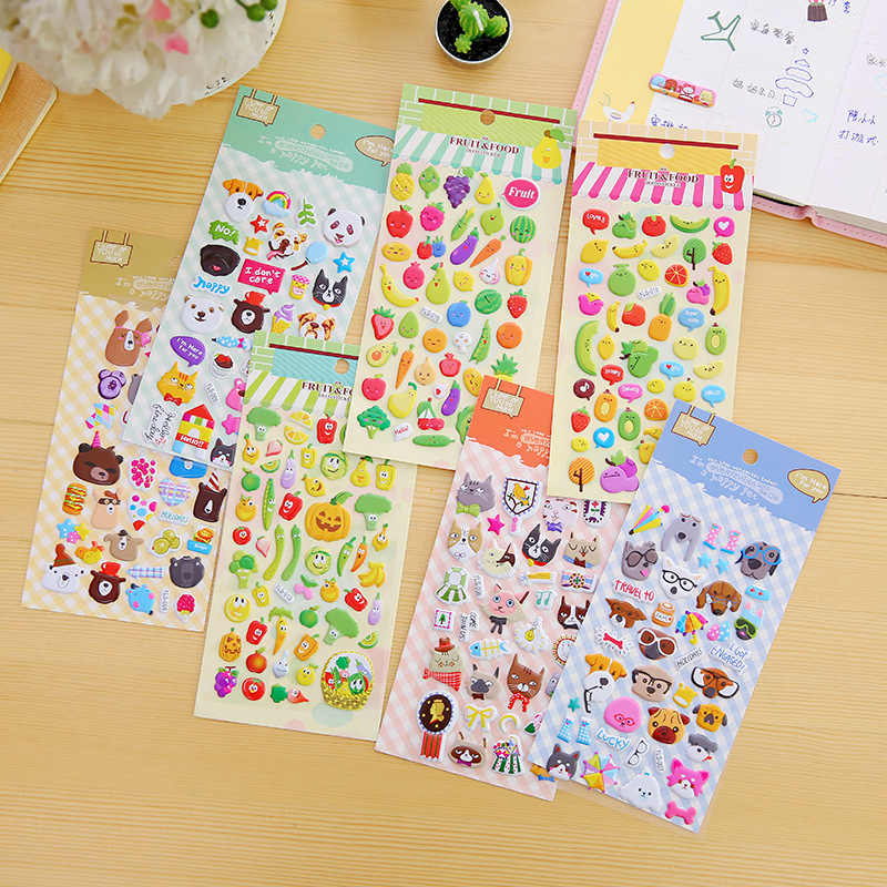 Puffy Stickers 3D Kawaii Cute Dog Food Fruit Number Funny Waterproof Stickers For Kids Reward Kids Sticker For Children Toy 1PCS