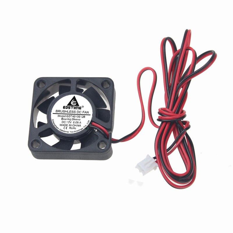 5 шт. в партии Gdstime 1 м провод 12 в 4 см 40 мм x 10 мм 2Pin Бесщеточный Охлаждающий вентилятор Радиатор для 3D принтера