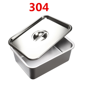 Прямоугольная квадратная раковина из нержавеющей стали 304 с плоским дном и покрытым блюдом, тарелка для буфета, тарелка для еды, жареная тарелка, лоток для хранения барбекю