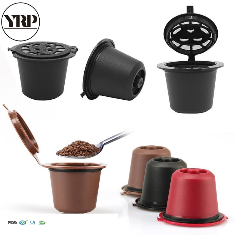 6 Pcs / Pack Nespresso Refillable Capsule  Red Black Brown With 1pcs Plastic Spoon Filter  Pod For Original Line Siccsaee Filter