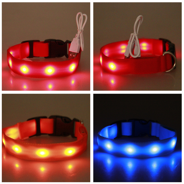 Light Belt LED Shining Pet USB Charging Neck Ring Collar Teddy Golden Retriever Dog Fluorescent Night Light Leopord Pattern Neck