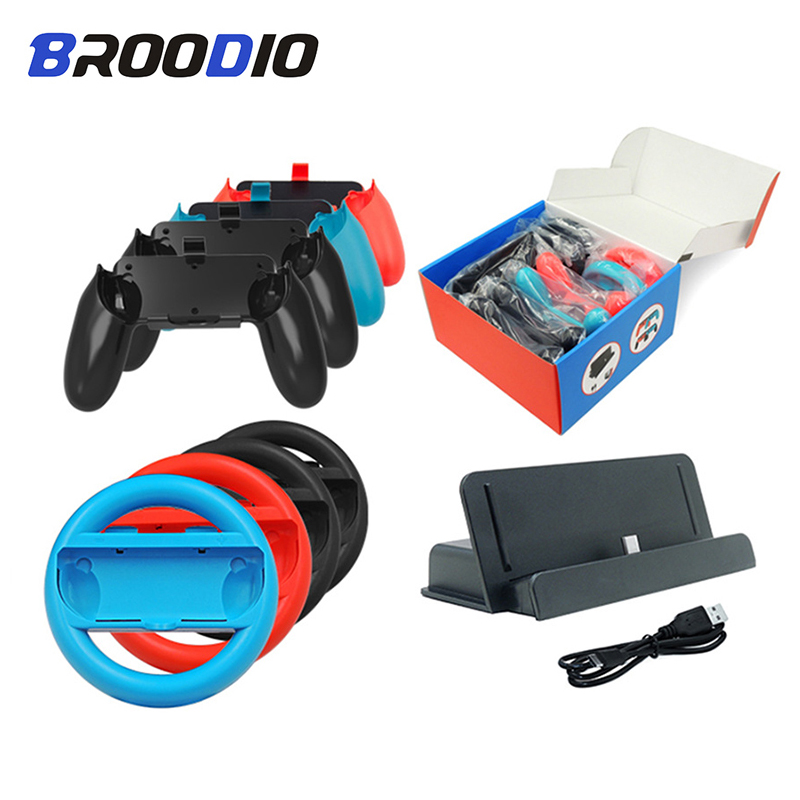 For Nintendo Switch Wheel Joystick Grip Handle Joypad Stand Holder Charger 10 IN 1 Set For Nintendo Switch Game Accessories