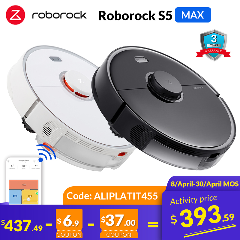Roborock S5 Max Robot Vacuum Cleaner for Home Smart Sweeping Robotic Cleaning Mope Upgrade of Roborock S50 S55 S5 Carpet Robot