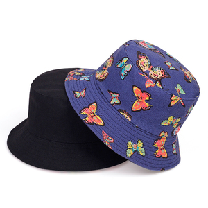 Fashon wild hip hop Bucket Hat Men Women Summer Bucket hats butterfly Print Bob Hats Fishing Fisherman Hat outdoor sun hats(China)