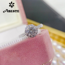 ANI 18K White Gold (AU750) Wedding Ring 0.50 CT Rings anillos mujer Luxury  Design Real Natural Diamond for Women