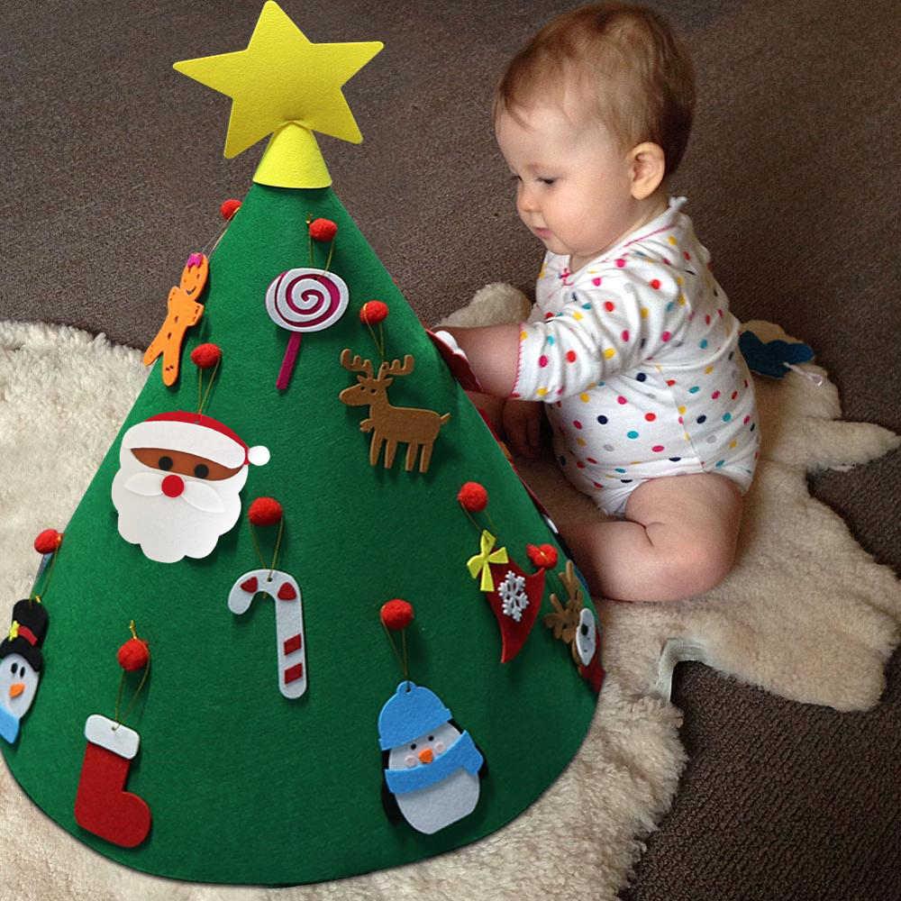 Fieltro árbol de Navidad para manualidades DIY niños juguetes regalo Festival herramienta pegatina ornamento decoración del hogar decorativo árbol de Navidad conjunto de decoración de fiesta