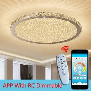 Image 5 - Cristal, luminaire dintérieur en acier inoxydable, éclairage à intensité réglable, luminaire décoratif de plafond, idéal pour un salon ou une chambre à coucher, plafond moderne à LEDs